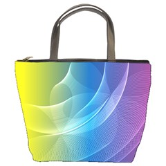 Colorful Guilloche Spiral Pattern Background Bucket Bags