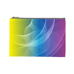 Colorful Guilloche Spiral Pattern Background Cosmetic Bag (large)