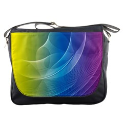 Colorful Guilloche Spiral Pattern Background Messenger Bags