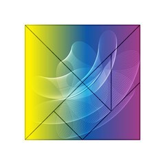 Colorful Guilloche Spiral Pattern Background Acrylic Tangram Puzzle (4  X 4 )