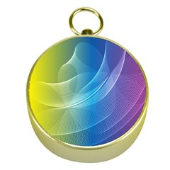 Colorful Guilloche Spiral Pattern Background Gold Compasses