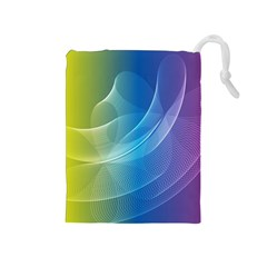 Colorful Guilloche Spiral Pattern Background Drawstring Pouches (medium)
