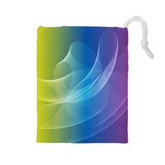 Colorful Guilloche Spiral Pattern Background Drawstring Pouches (Large)