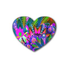 Wild Abstract Design Rubber Coaster (Heart)