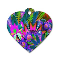 Wild Abstract Design Dog Tag Heart (Two Sides)
