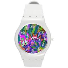 Wild Abstract Design Round Plastic Sport Watch (M)