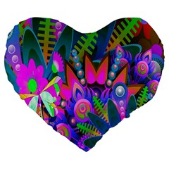 Wild Abstract Design Large 19  Premium Heart Shape Cushions