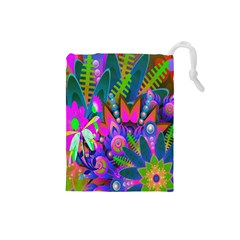 Wild Abstract Design Drawstring Pouches (small)