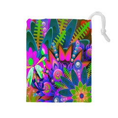 Wild Abstract Design Drawstring Pouches (Large)