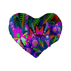 Wild Abstract Design Standard 16  Premium Flano Heart Shape Cushions