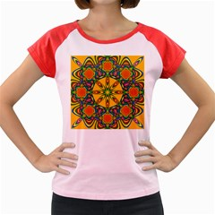 Seamless Orange Abstract Wallpaper Pattern Tile Background Women s Cap Sleeve T-Shirt