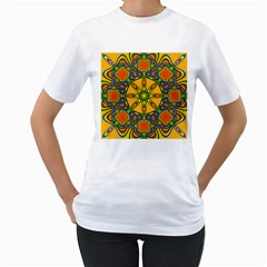 Seamless Orange Abstract Wallpaper Pattern Tile Background Women s T-Shirt (White) (Two Sided)