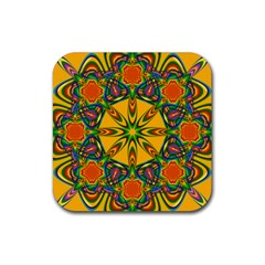 Seamless Orange Abstract Wallpaper Pattern Tile Background Rubber Square Coaster (4 Pack)