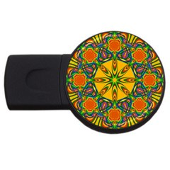 Seamless Orange Abstract Wallpaper Pattern Tile Background USB Flash Drive Round (1 GB)