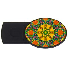 Seamless Orange Abstract Wallpaper Pattern Tile Background Usb Flash Drive Oval (2 Gb)
