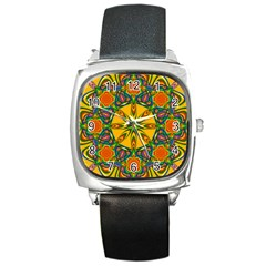 Seamless Orange Abstract Wallpaper Pattern Tile Background Square Metal Watch