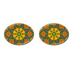 Seamless Orange Abstract Wallpaper Pattern Tile Background Cufflinks (Oval)