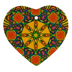 Seamless Orange Abstract Wallpaper Pattern Tile Background Heart Ornament (two Sides)