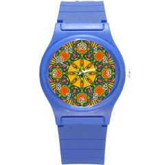 Seamless Orange Abstract Wallpaper Pattern Tile Background Round Plastic Sport Watch (s)