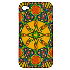Seamless Orange Abstract Wallpaper Pattern Tile Background Apple Iphone 4/4s Hardshell Case (pc+silicone)