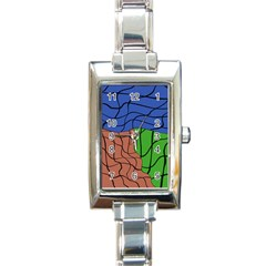 Abstract Art Mixed Colors Rectangle Italian Charm Watch