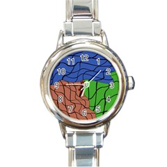 Abstract Art Mixed Colors Round Italian Charm Watch