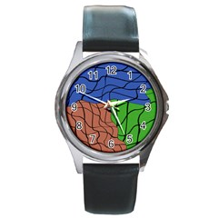 Abstract Art Mixed Colors Round Metal Watch