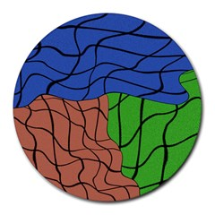 Abstract Art Mixed Colors Round Mousepads