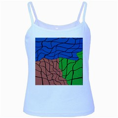 Abstract Art Mixed Colors Baby Blue Spaghetti Tank