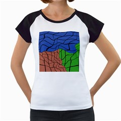 Abstract Art Mixed Colors Women s Cap Sleeve T