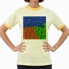 Abstract Art Mixed Colors Women s Fitted Ringer T Shirts