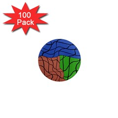 Abstract Art Mixed Colors 1  Mini Magnets (100 Pack)
