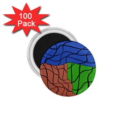 Abstract Art Mixed Colors 1.75  Magnets (100 pack)