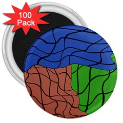 Abstract Art Mixed Colors 3  Magnets (100 pack)