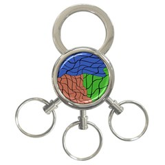 Abstract Art Mixed Colors 3 Ring Key Chains