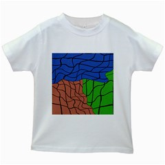 Abstract Art Mixed Colors Kids White T-Shirts