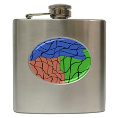 Abstract Art Mixed Colors Hip Flask (6 oz)