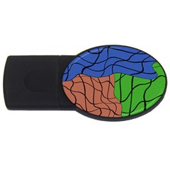 Abstract Art Mixed Colors USB Flash Drive Oval (1 GB)
