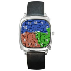 Abstract Art Mixed Colors Square Metal Watch