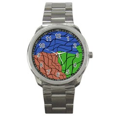 Abstract Art Mixed Colors Sport Metal Watch