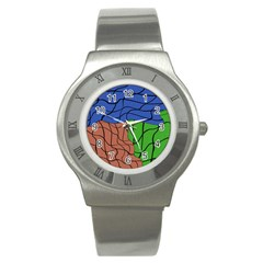Abstract Art Mixed Colors Stainless Steel Watch