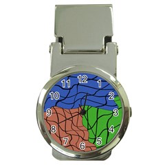 Abstract Art Mixed Colors Money Clip Watches