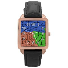 Abstract Art Mixed Colors Rose Gold Leather Watch