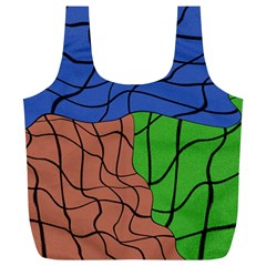 Abstract Art Mixed Colors Full Print Recycle Bags (L)