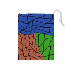 Abstract Art Mixed Colors Drawstring Pouches (Medium)
