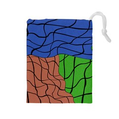 Abstract Art Mixed Colors Drawstring Pouches (Large)