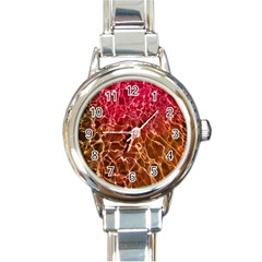 Background Water Abstract Red Wallpaper Round Italian Charm Watch