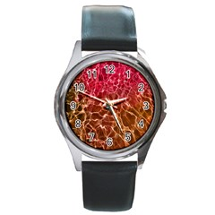 Background Water Abstract Red Wallpaper Round Metal Watch