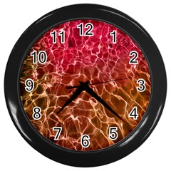 Background Water Abstract Red Wallpaper Wall Clocks (black)