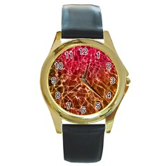Background Water Abstract Red Wallpaper Round Gold Metal Watch